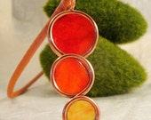SUNBURST WASHI PAPER STAINED GLASS CIRCLES ON COPPER CHOKER