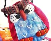 Owl Pouch in Asian Fabrics aka Gadget Case Shoulder Sling Bag