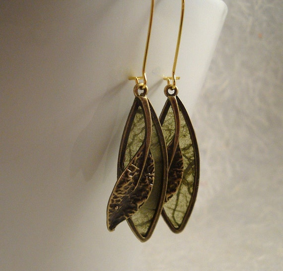 BRASS LEAVES AUTUMN OLIVE GREEN