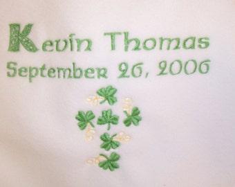 Personalized Irish Baby Blanket Embroidered Crib Gift - Birth, Christening and Baptism