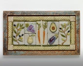 "Handmade ceramic vegetable tile mural 16""x27"""