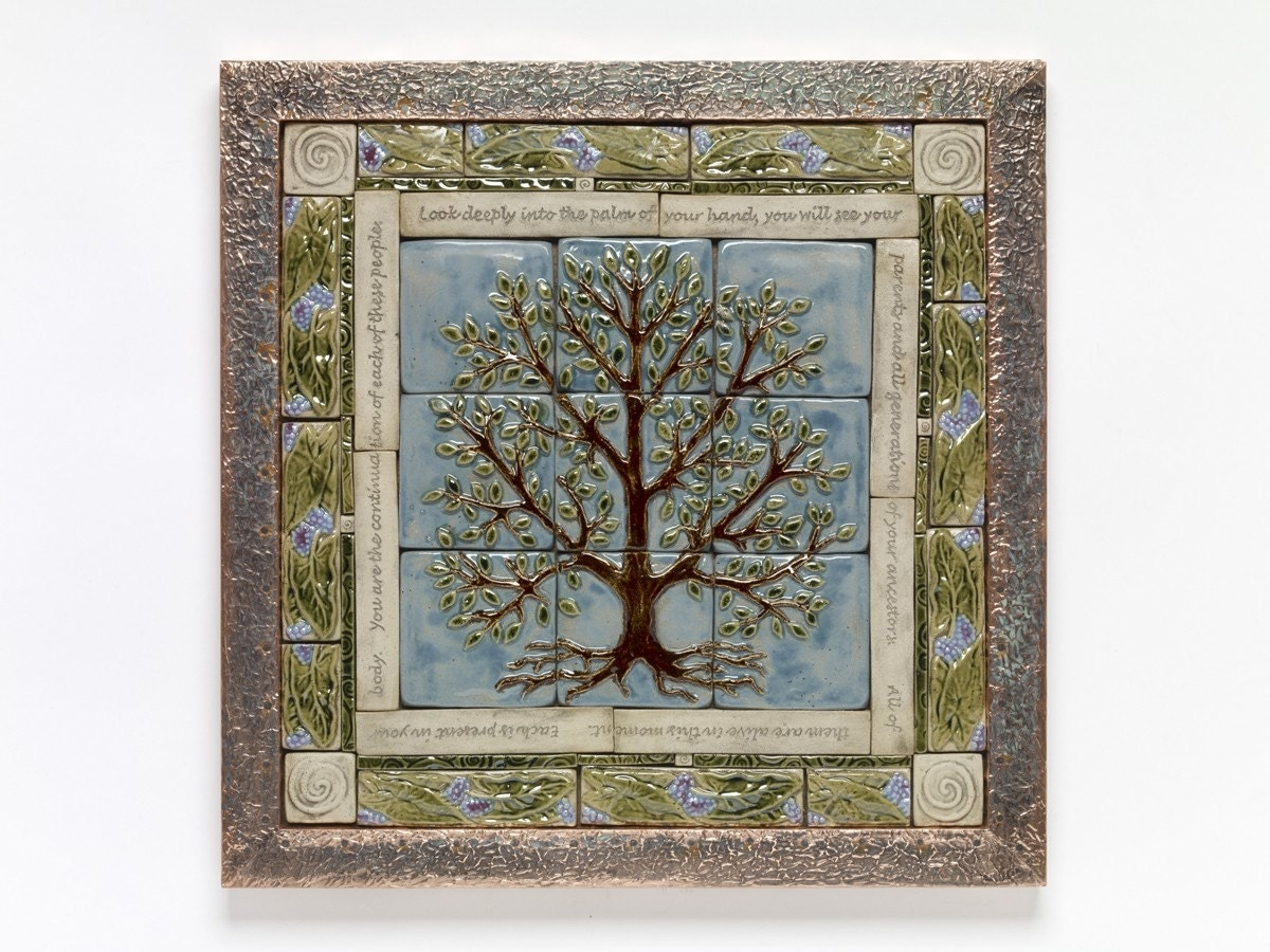 Items similar to handmade ceramic tile tree of life tile for Ceramic tile mural backsplash