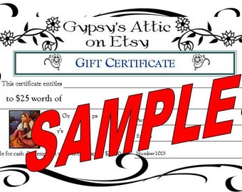 10 US Dollar Gift Certificate