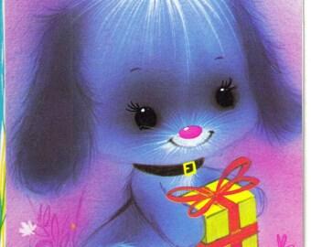 Happy Birthday Dear Grandma 1960s blue dog