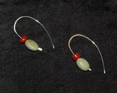 Yellow Opal and Red Coral Fine Silver Earrings