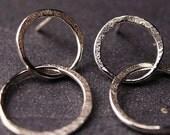 Sterling silver hammered double hoop earrings