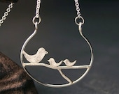Sterling Silver Mother's necklace with Mama Bird and Baby Birdies