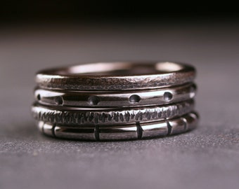Sterling silver textured stackable rings