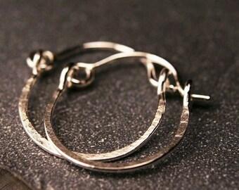 "Sterling silver tiny hammered hoop earrings 1/2"""