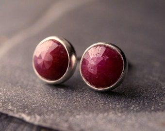 RESERVED FOR DEER - Untreated ruby and sterling silver stud earrings 6mm - Not your Grandma's ruby earrings