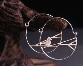 Sterling silver bird and branches hoop earrings 1""