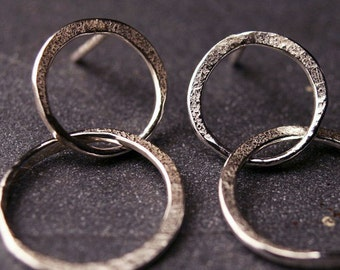 Sterling silver hammered double hoop earrings