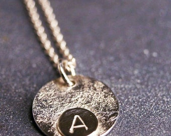 Sterling silver monogram initial personalized hammered necklace pendant