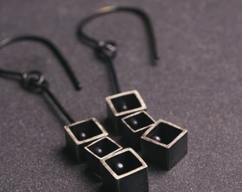 Sterling silver geometric square kinetic earrings