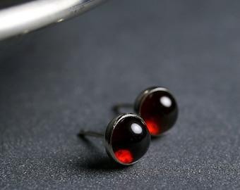 6mm Garnet cabochon and sterling silver bezel set stud earrings
