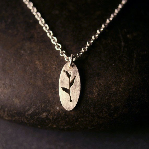 Sterling silver tiny charm leaf and branch botanical necklace