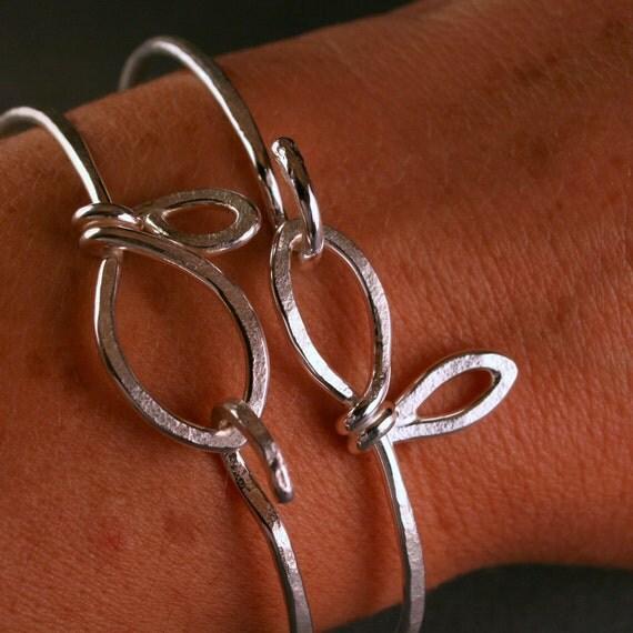 Sterling silver botanical leaf bangle bracelet set of two