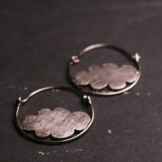 Sterling silver large hoop earrings with clouds