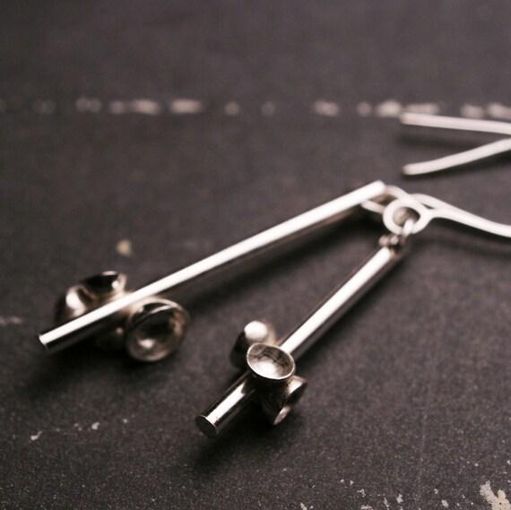 Sterling silver asymmetrical dangle hook earrings    The Modern Pine Bough
