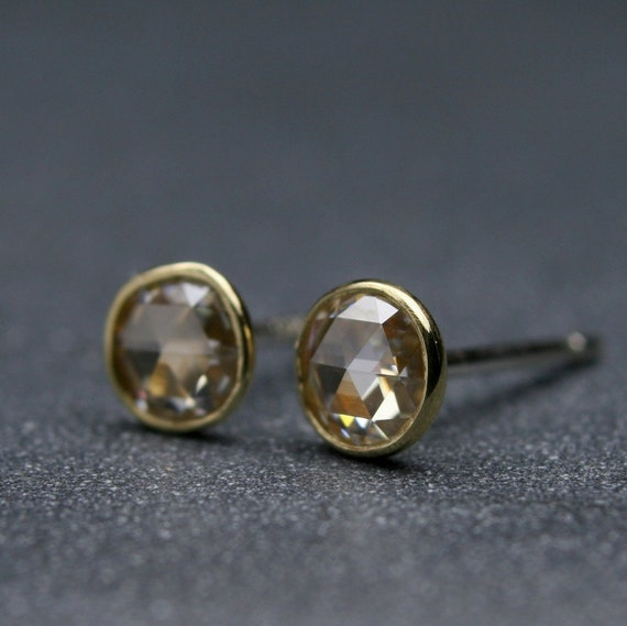 Rose cut 4mm Moissanite and 18k  yellow gold bezel set earrings with sterling posts and backs