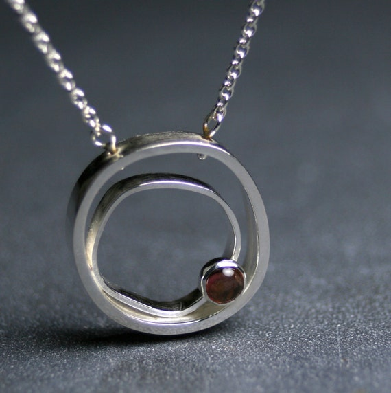 Sterling silver modern circles pendant with apricot tourmaline - Orbit