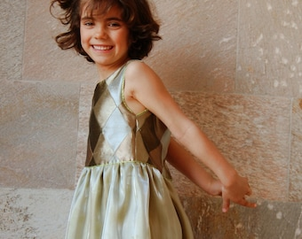OOAK girls silk handmade formal dress Forest Fairy, silk flower girl dress, size 6 years