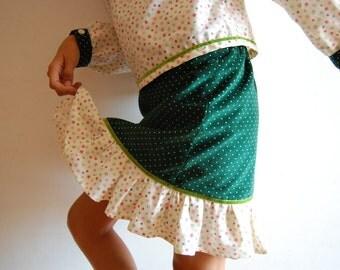 SNOWFLAKES Christmas girl skirt, corduroy skirt, christmas handmade skirt, toddler christmas skirt, girl green skirt, girls christmas outfit