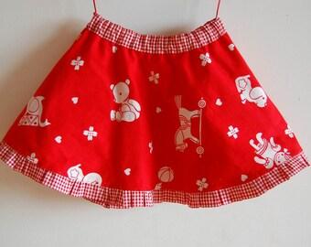 SCANDINAVIAN TOYS Girls handmade reversible skirt, Christmas twirly skirt with pockets, toddler circle skirt made with vintage fabric