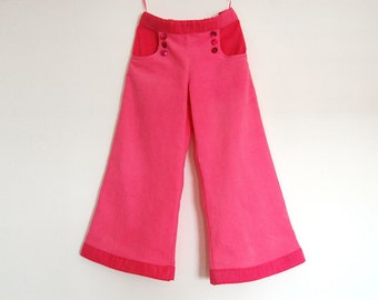 PINK CIRCUS Girls handmade corduroy pants, girl bell bottoms, toddler pink flared trousers, girl jeans,