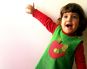 APPLE girls green corduroy handmade jumper dress with hand embroidered apple applique, any size