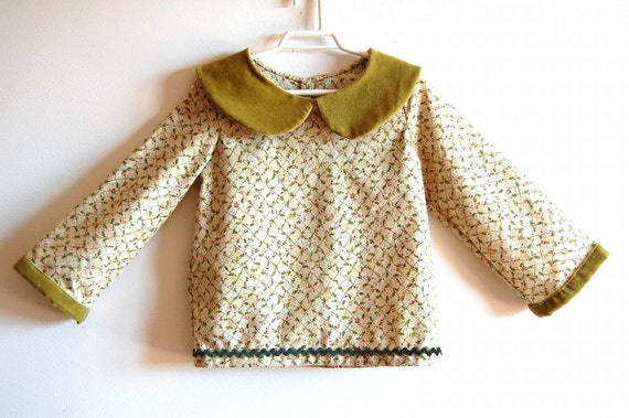 FREE SHIPPING - OOAK CHRISTMAS HOLLY BERRIES cotton handmade shirt - 3 years size