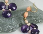 Resort earrings, coral and amethyst