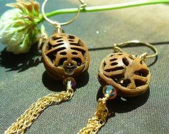 Wood and crystal earrings, Asian inspired