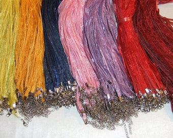 Silk Organza Ribbons with adjustable chain 17  to 19 inches quantity 12 pick your colors