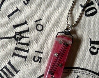 Hot Pink Steampunk Necklace