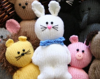 Chubbies - Animals - cat dog lion pig elephant rabbit mouse bear - INSTANT DOWNLOAD PDF Knitting Pattern