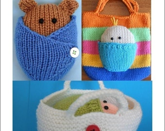 3 patterns Wrapped Up Baby and Baby Bear in blanket and basket and Bag - INSTANT DOWNLOAD PDF Knitting Pattern