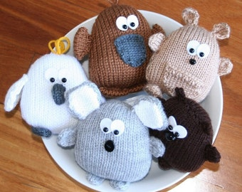 Peter's Pals - Australian animals - kangaroo, koala platypus, cockatoo and wombat - INSTANT DOWNLOAD PDF Knitting Pattern