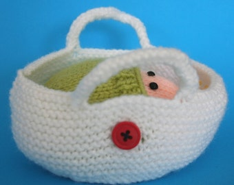 Wrapped Up Baby and Baby Bear in basket - INSTANT DOWNLOAD PDF Knitting Pattern