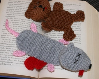 Squashed teddy bear and rat bookmarks - INSTANT DOWNLOAD PDF Knitting Pattern