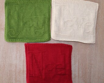Love, Noel and Joy Christmas Dishcloth - INSTANT DOWNLOAD PDF Knitting Pattern