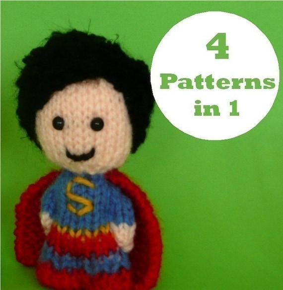 Superheroes Amigurumi or finger puppets - PDF KNITTING PATTERN