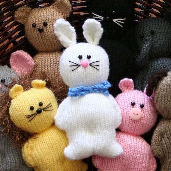 Chubbies - Animals - cat dog lion pig elephant rabbit mouse bear - INSTANT DOWNLOAD PDF Knitting Pattern