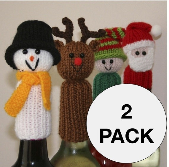 2 Pack Tic Tac Toys/Wine Bottle Toppers - Christmas and Animals/People - INSTANT DOWNLOAD PDF Knitting Pattern