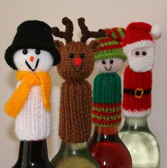 Tic Tac Toys/Wine Bottle Toppers - Christmas - INSTANT DOWNLOAD PDF Knitting Pattern