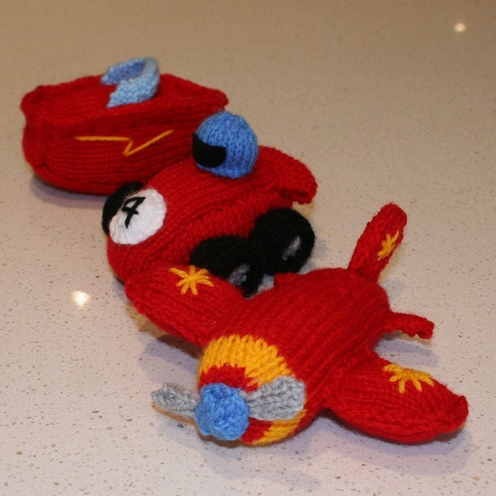 Knitting Pattern For Toy Boat : Race Car, plane and speed boat - INSTANT DOWNLOAD PDF Knitting Pattern from k...