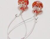 Lampwork and Swarovski Crystal Long Wire Earrings