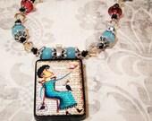 Bird Lady Art Pendant Beaded Necklace