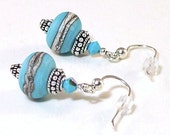 Turquoise Lampwork Glass with Bali Sterling Silver Earrings