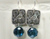 Spanish Dove - Earrings with Montana Blue Crystals - PRICED 30% OFF